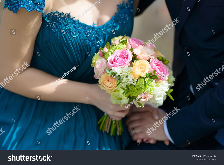 Bride Wearing Blue Dress Groom Wedding Stock Photo Edit Now 1464752180