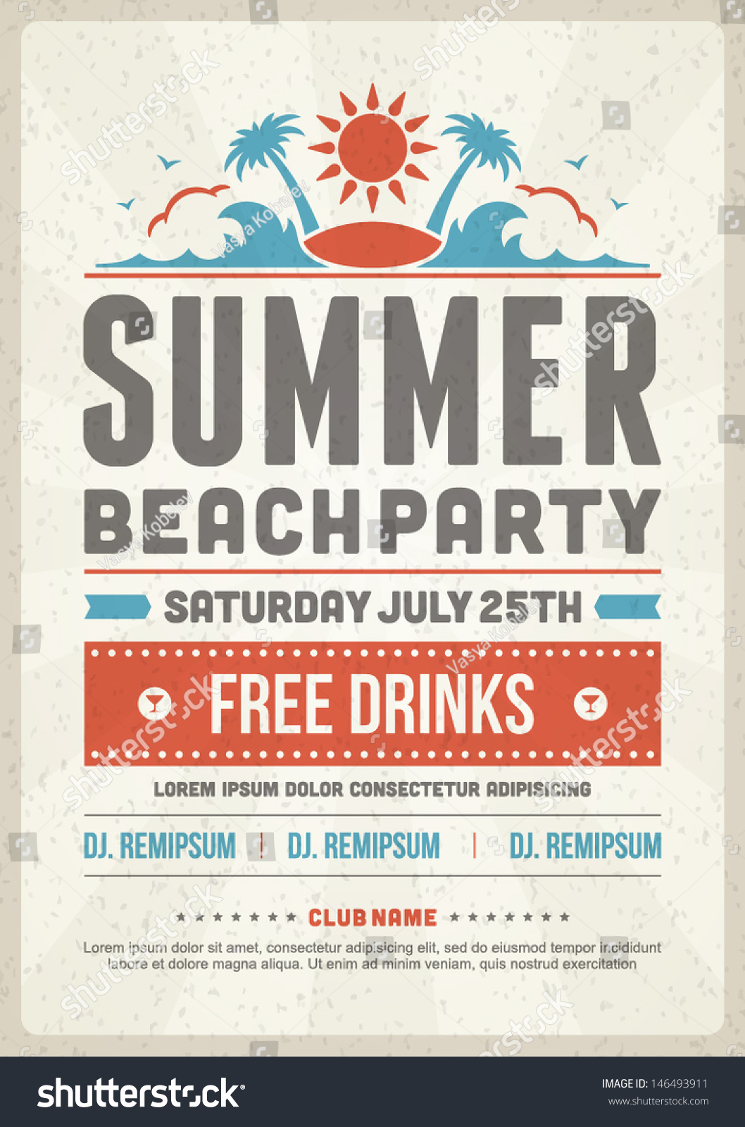 Stock Vector Retro Summer Party Design Poster Flyer Night Club Event Typography Template Vintage Typographic Elements