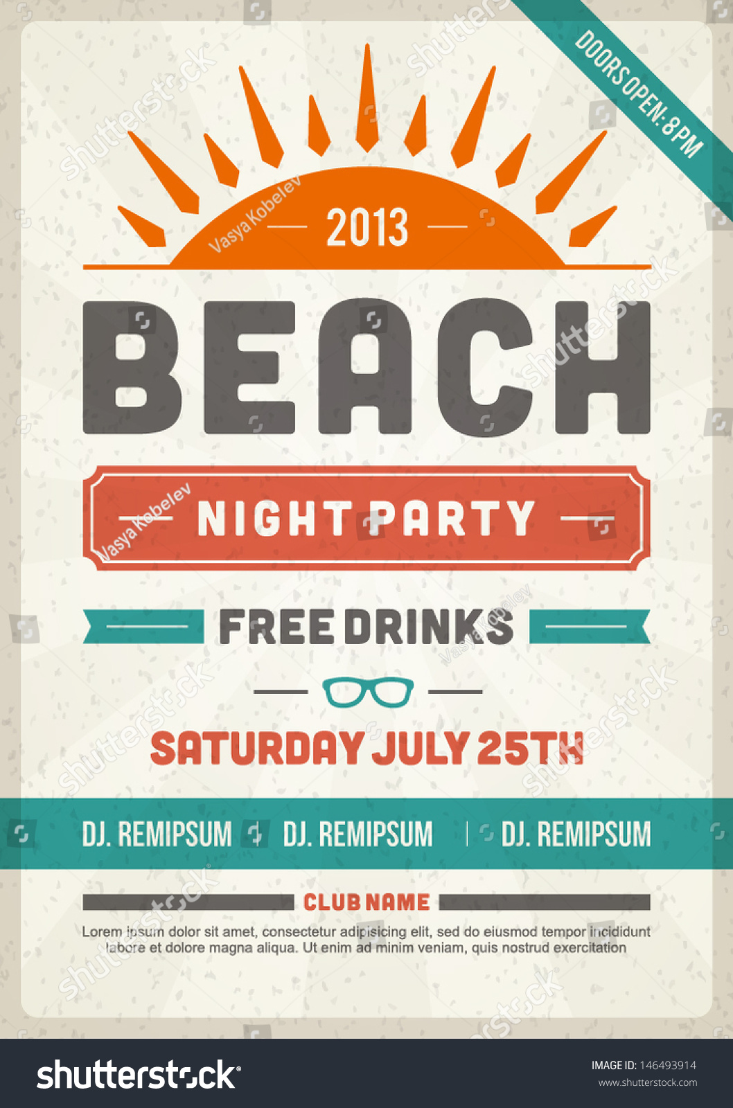 Retro Summer Party Design Poster Flyer Vector 146493914 – Typography Flyer