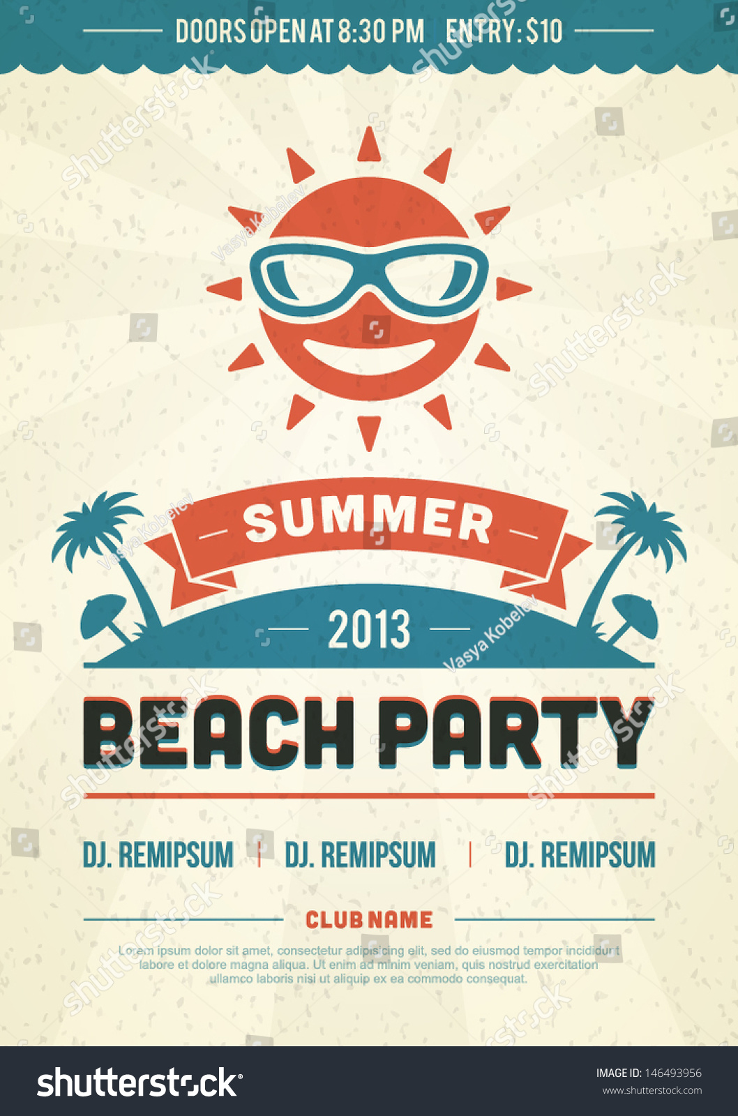 retro summer party design poster flyer stock vector 146493956 shutterstock