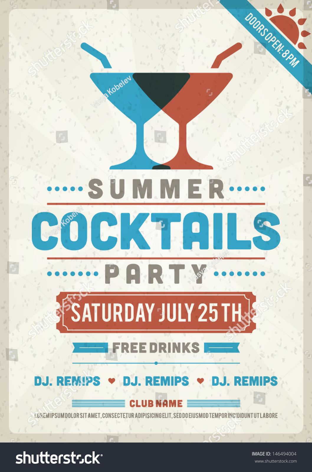 retro summer party design poster flyer stock vector 146494004 shutterstock. Black Bedroom Furniture Sets. Home Design Ideas