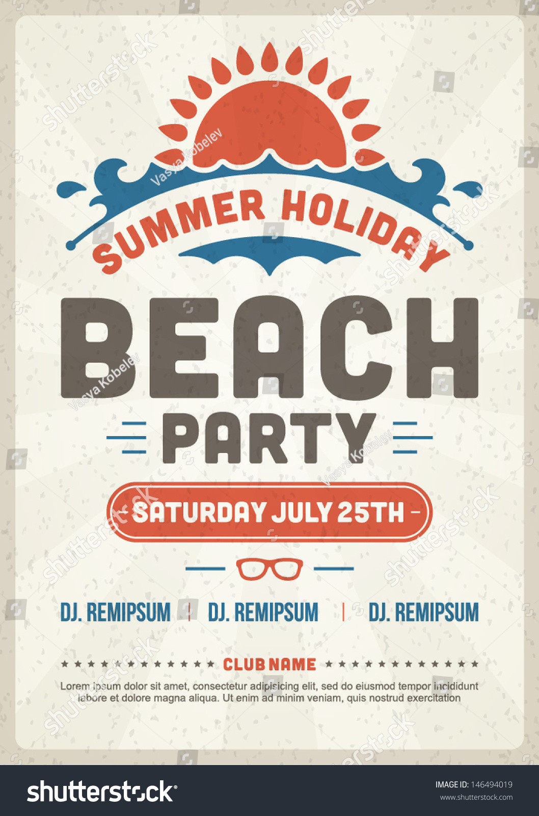 Design poster retro - Retro Summer Party Design Poster Or Flyer Night Club Event Typography Vector Template Illustration