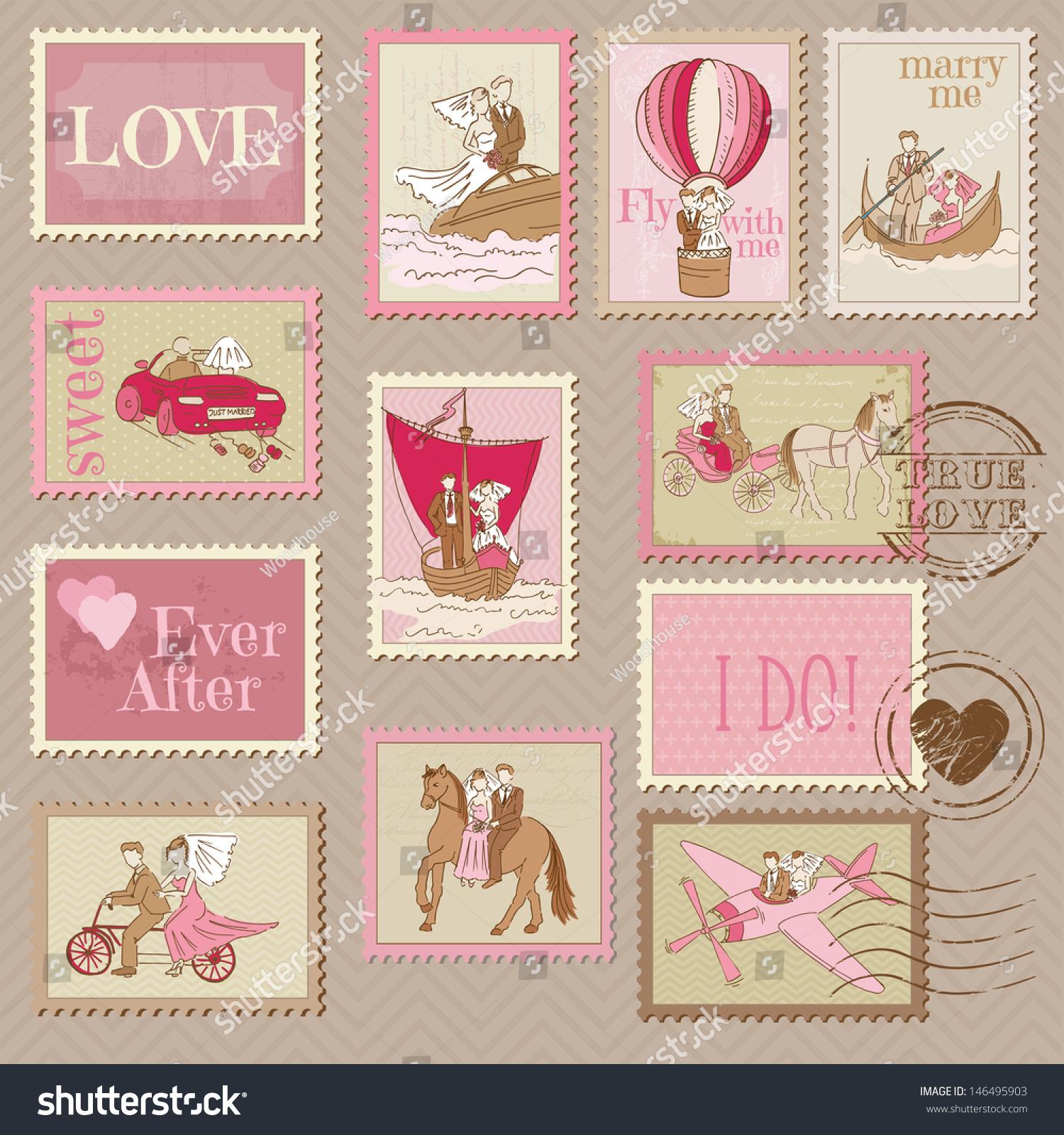 Wedding Postage Stamps Design Scrapbook Vector Stock Vector (Royalty ...