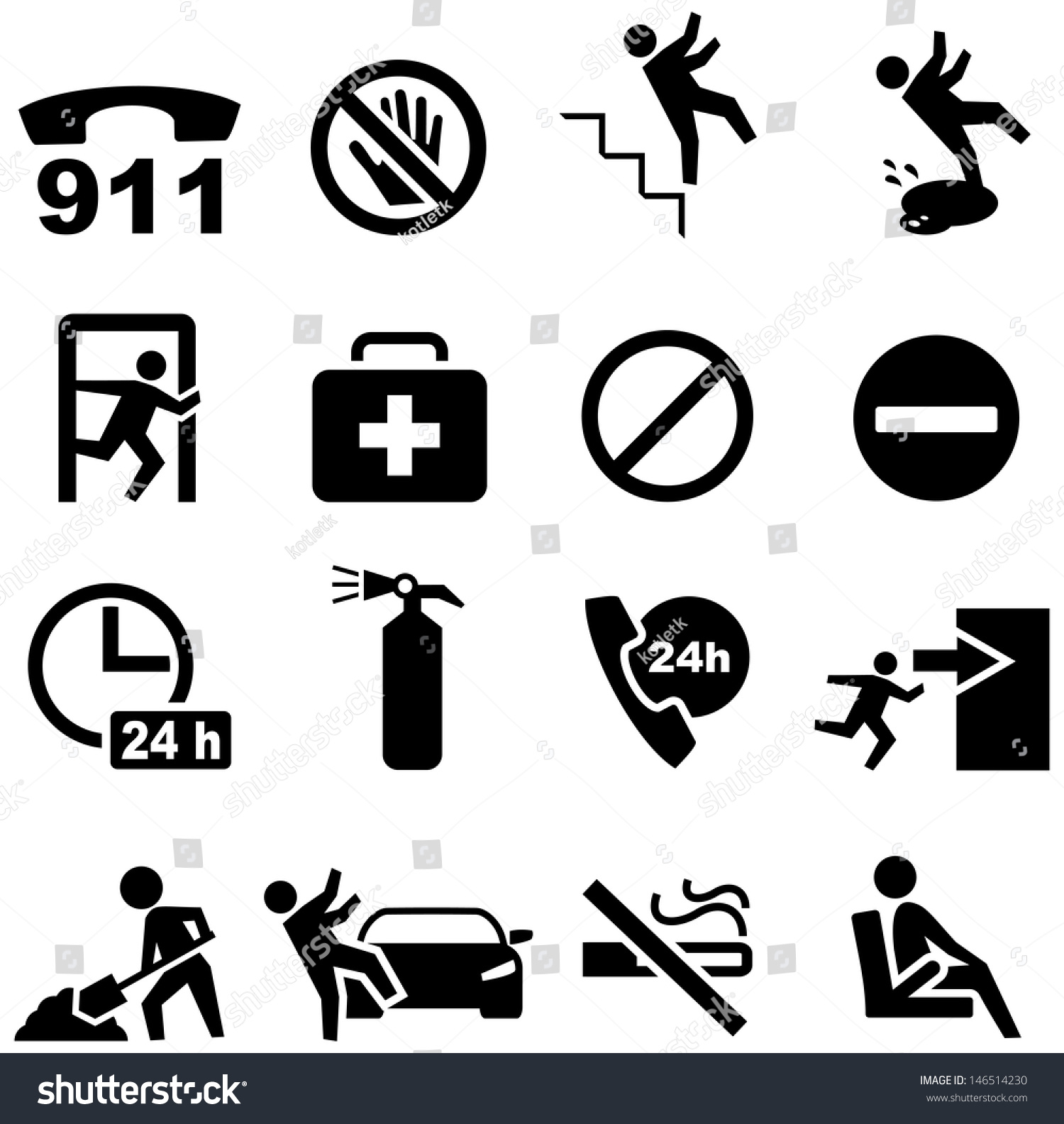 Safety Icons Stock Vector 146514230 - Shutterstock