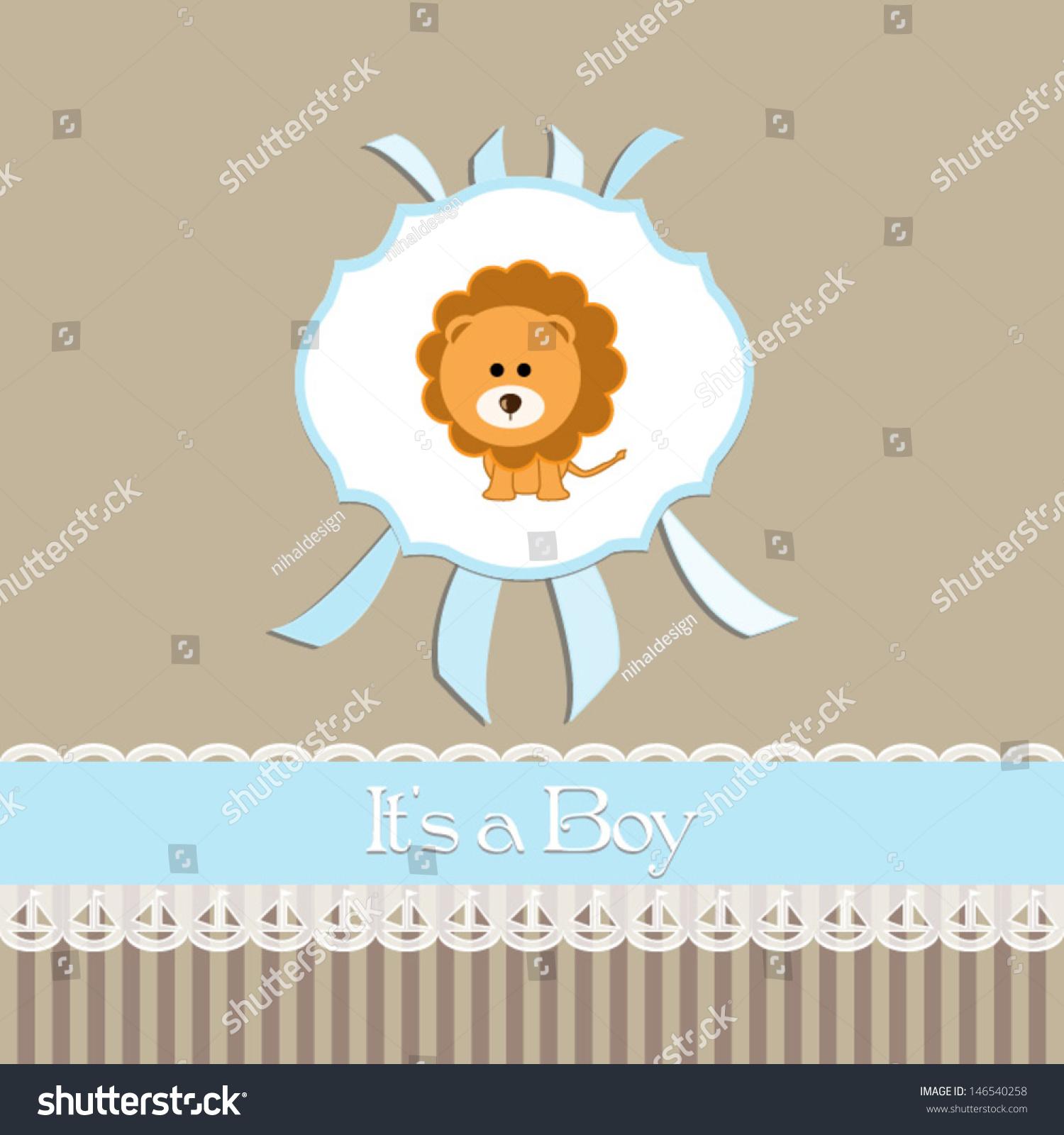 Baby Shower Invitation Baby Boybeige Background Stock Vector ...