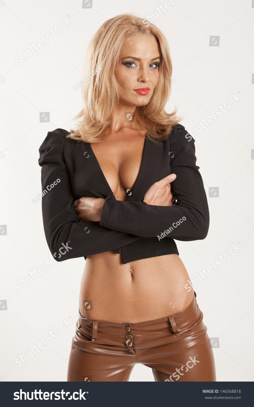 Hot Leather Clad Blonde Teen 108