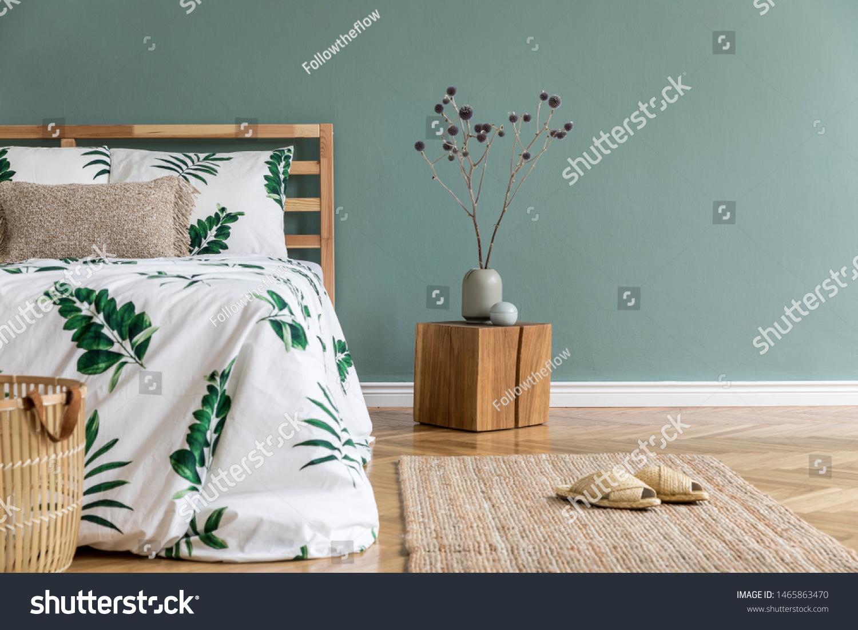 Minimalistic Boho Interior Design Bedroom Wooden Stock Photo Edit Now 1465863470