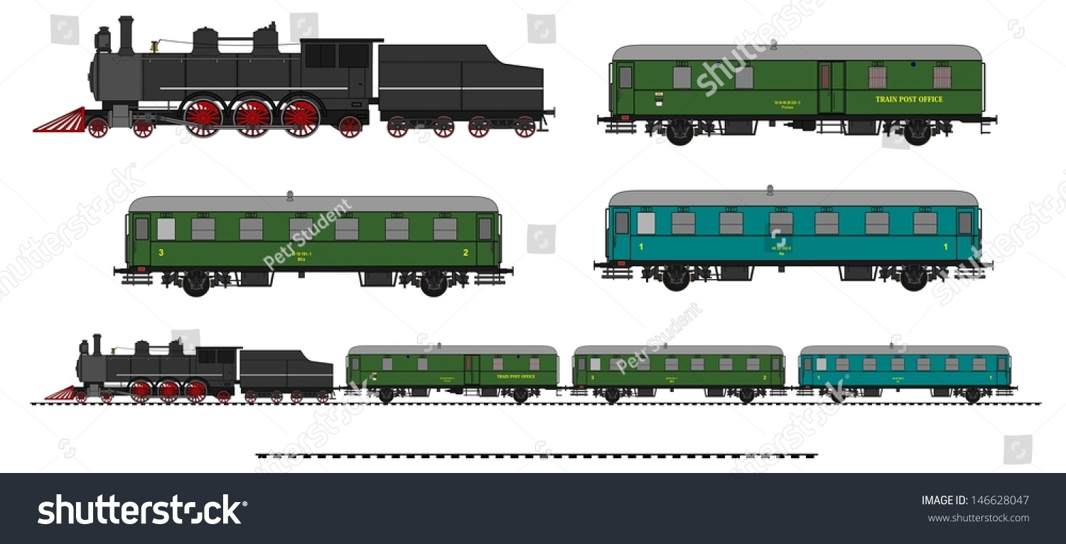 A Side Illustration Of Vintage Train. Kit Contain: Steam ...