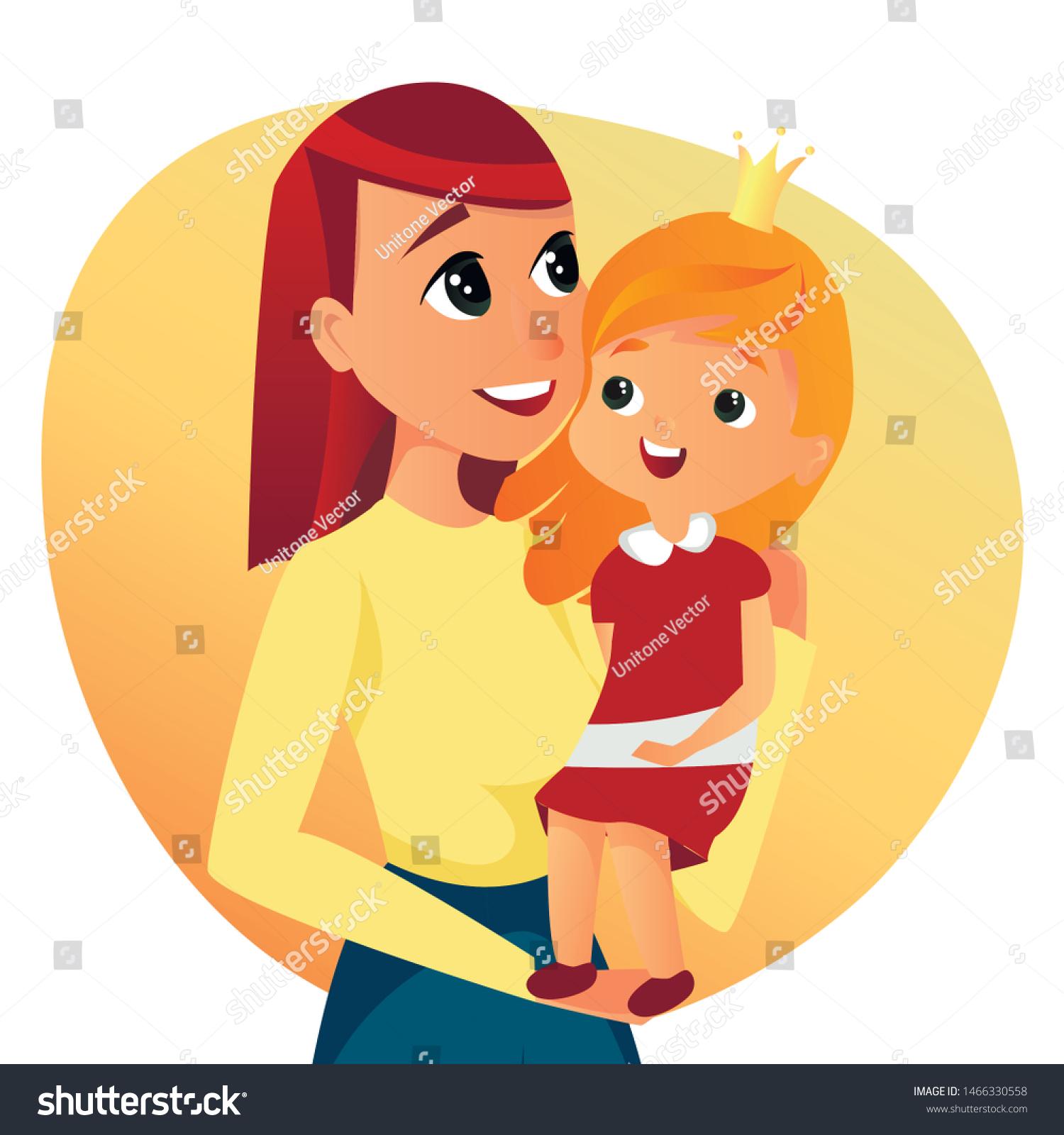 Portrait Cartoon Woman Hold Girl Vector Stock Vector Royalty Free 1466330558