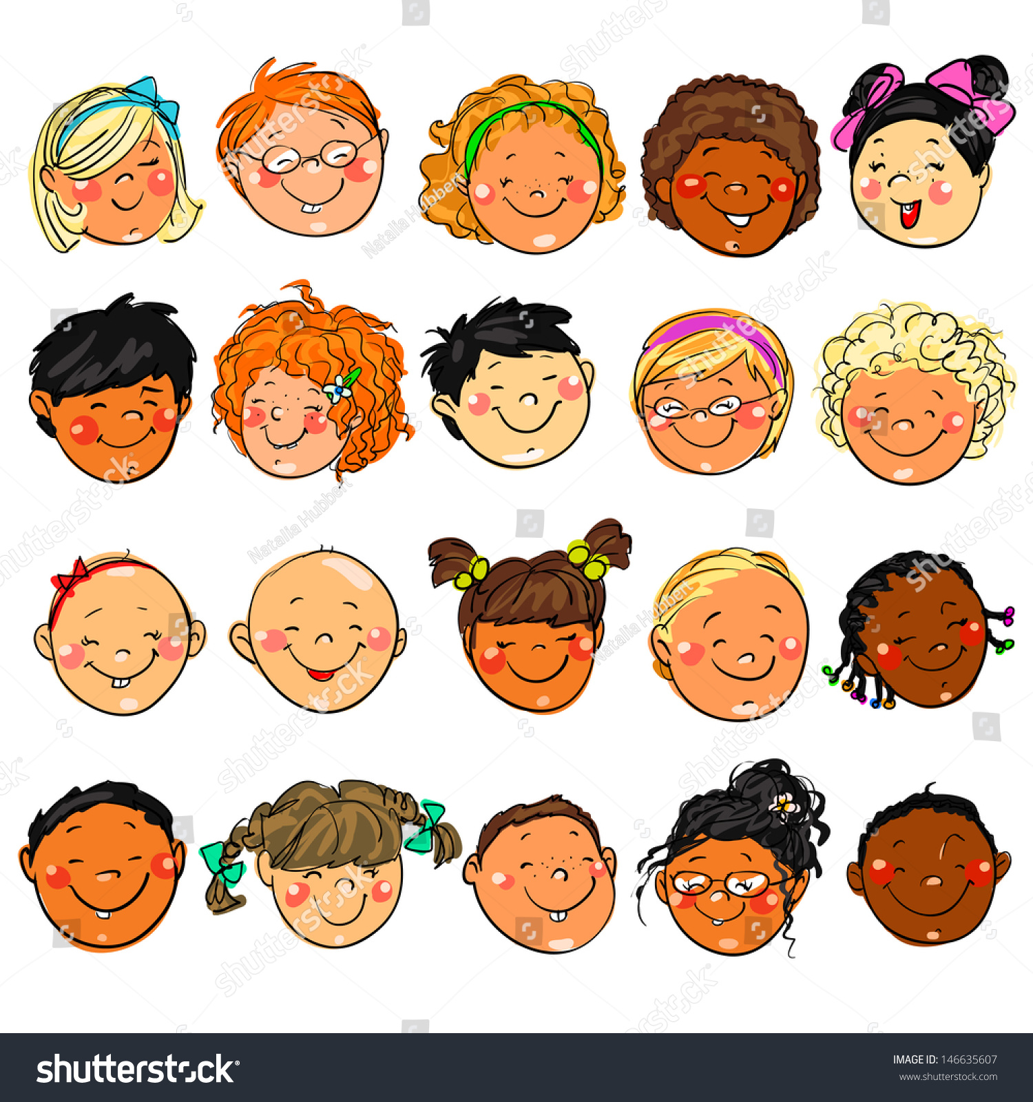 Happy Kids Faces Hand Drawn Clipart Stock Vector 146635607 ...