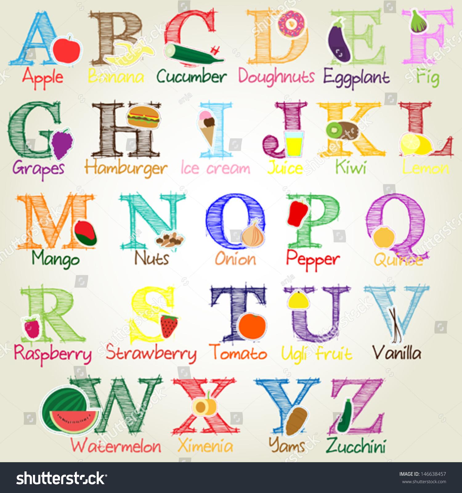 Fruit Vegetables Food Alphabet Vector Illustration Stock ...