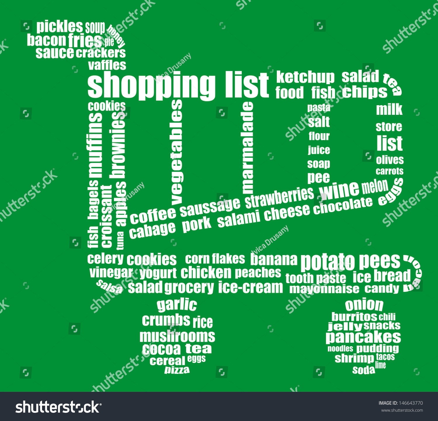Tag Cloud Composed Words Related Grocery Stock Illustration