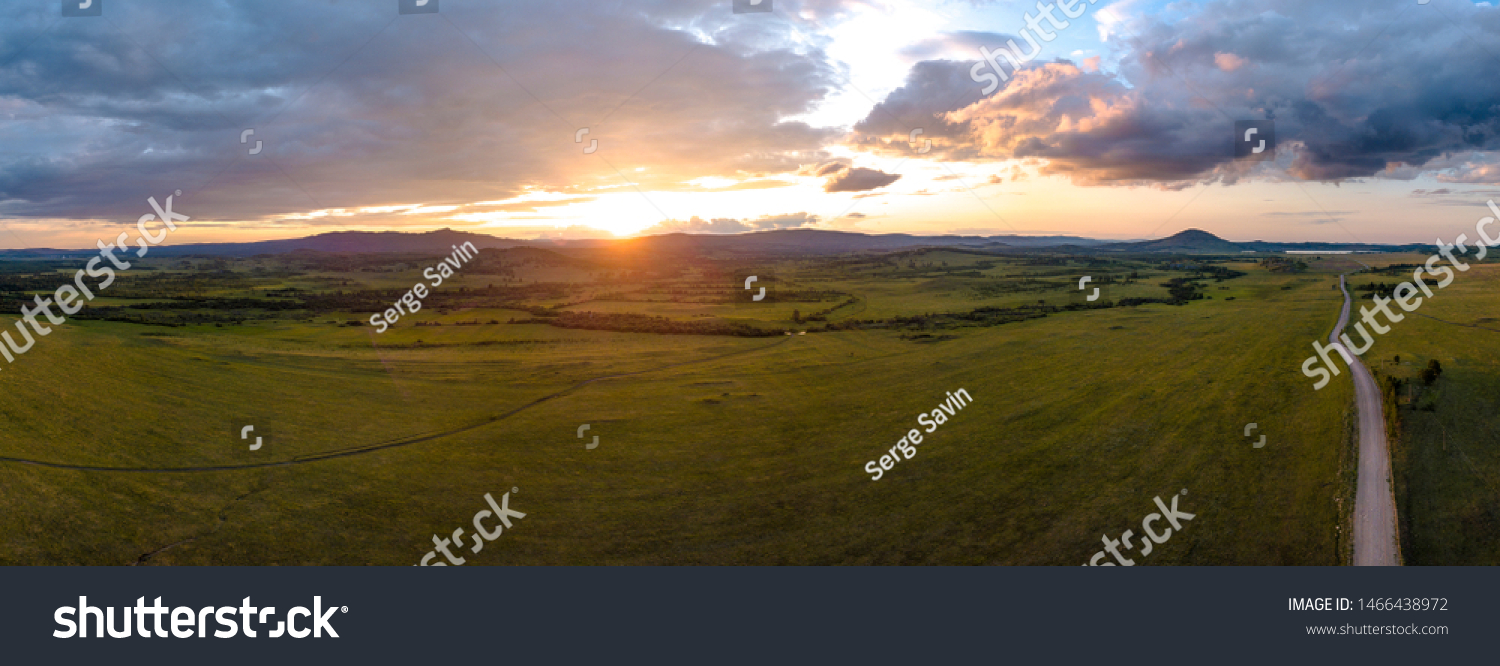 South ural mountains landscape aerial pano #1466438972