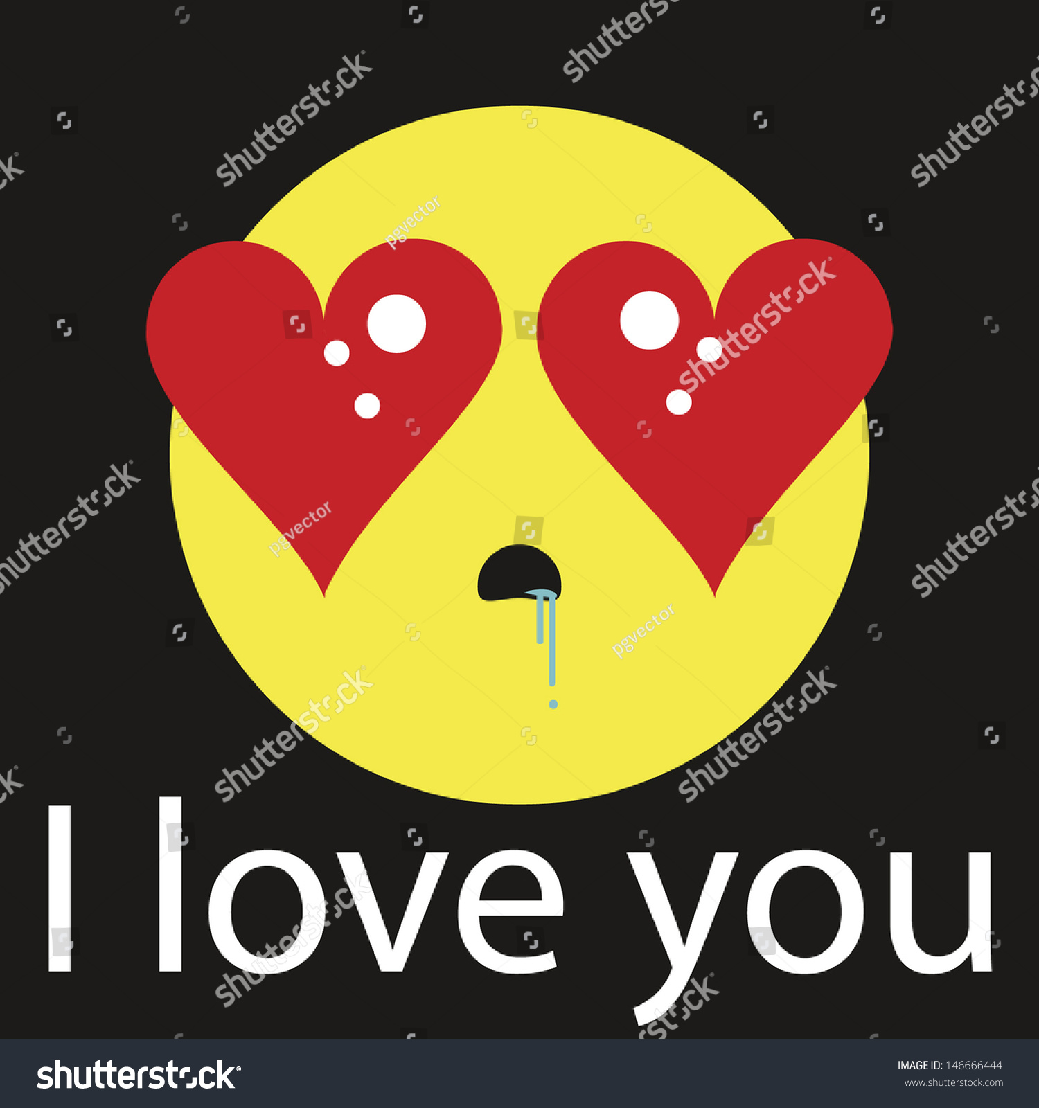 Yellow Emoticon Text Expression Love Heartshaped Stock