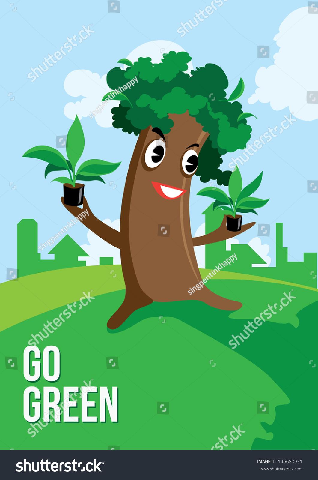 Go Green Cartoon Tree Poster Stock Vector 146680931 ...