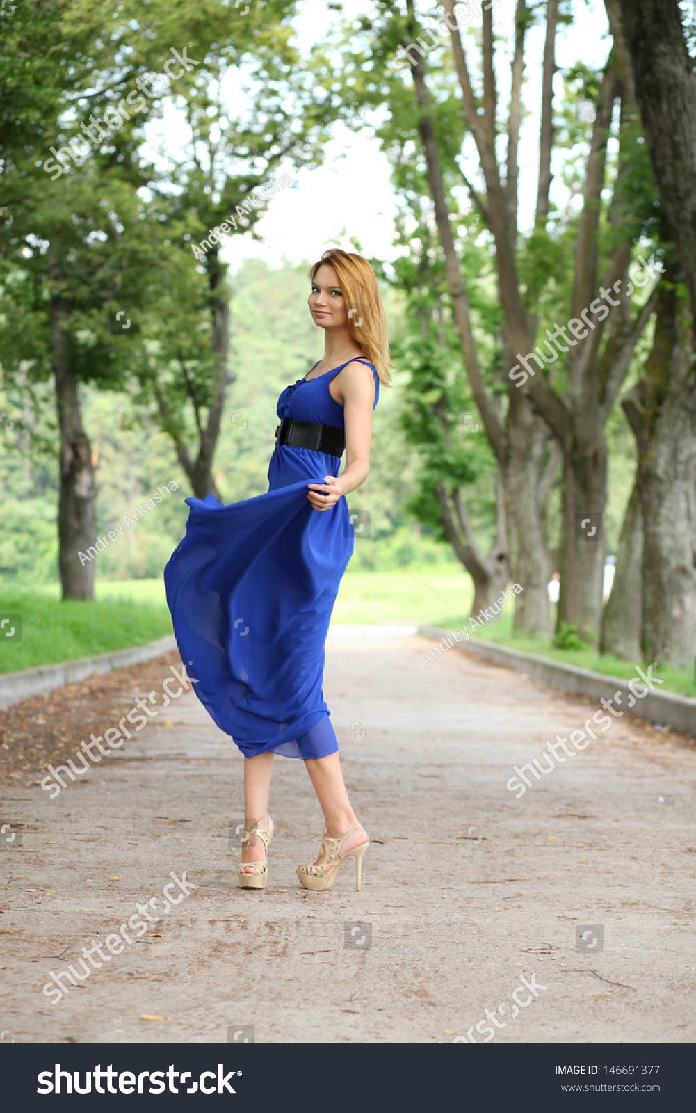 Beautiful Young Woman Walking On Summer Stock Photo ...