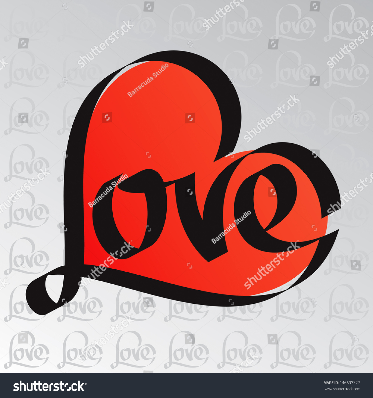 Heart typography love calligraphy stock vector
