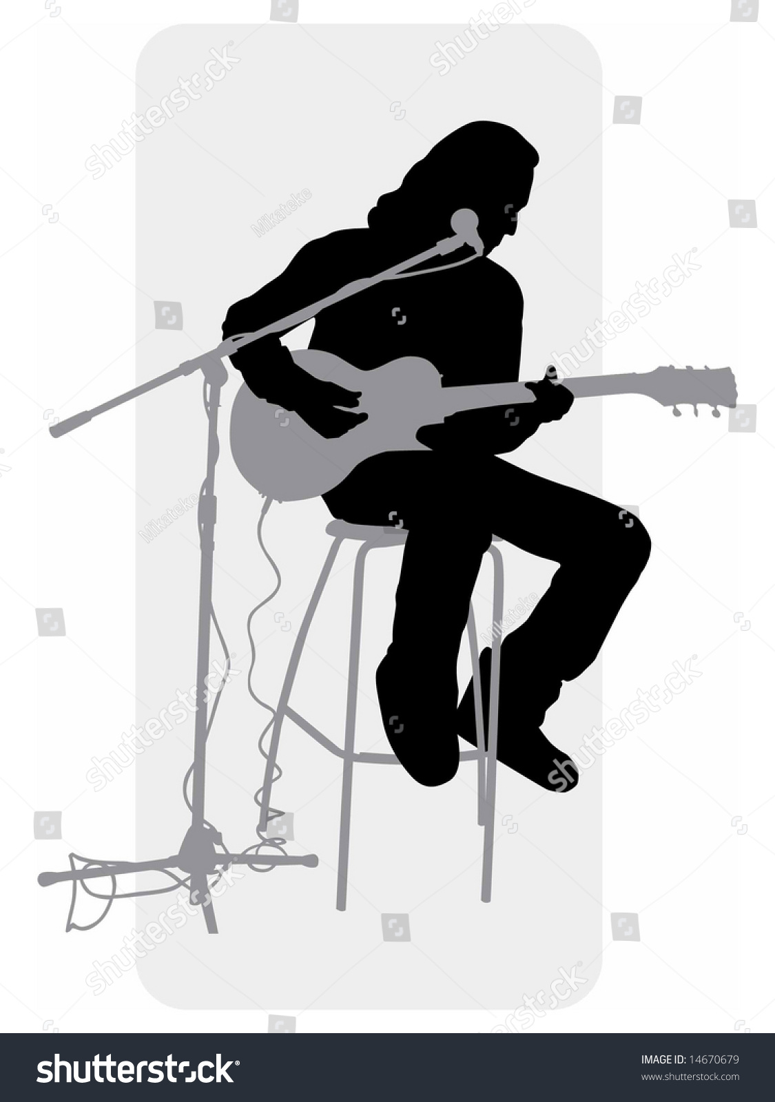Vector Grayscale Silhouette Image Guitar Player Stock ...
