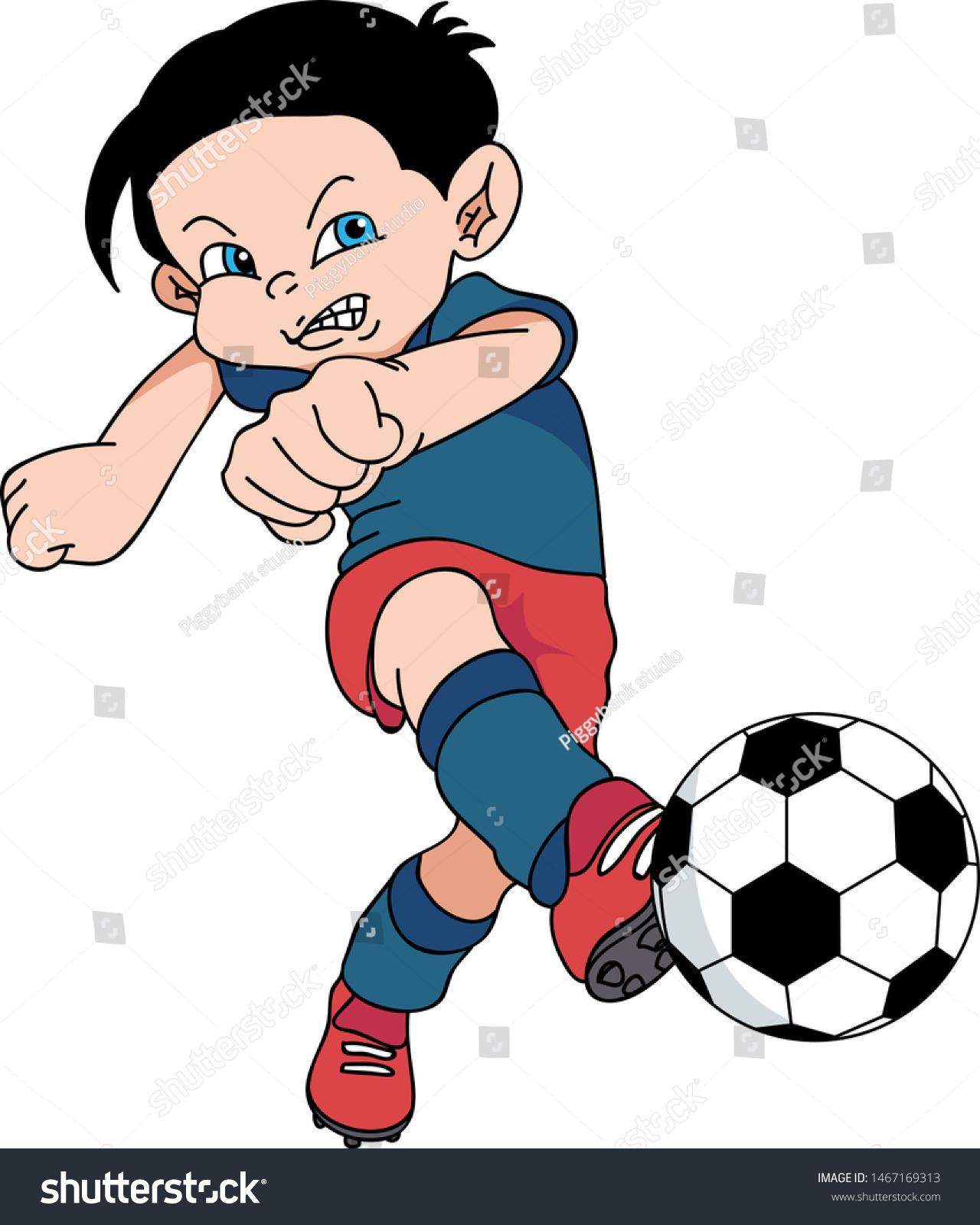 Hand Drawing Kid Playing Football Stock Vector Royalty Free 1467169313