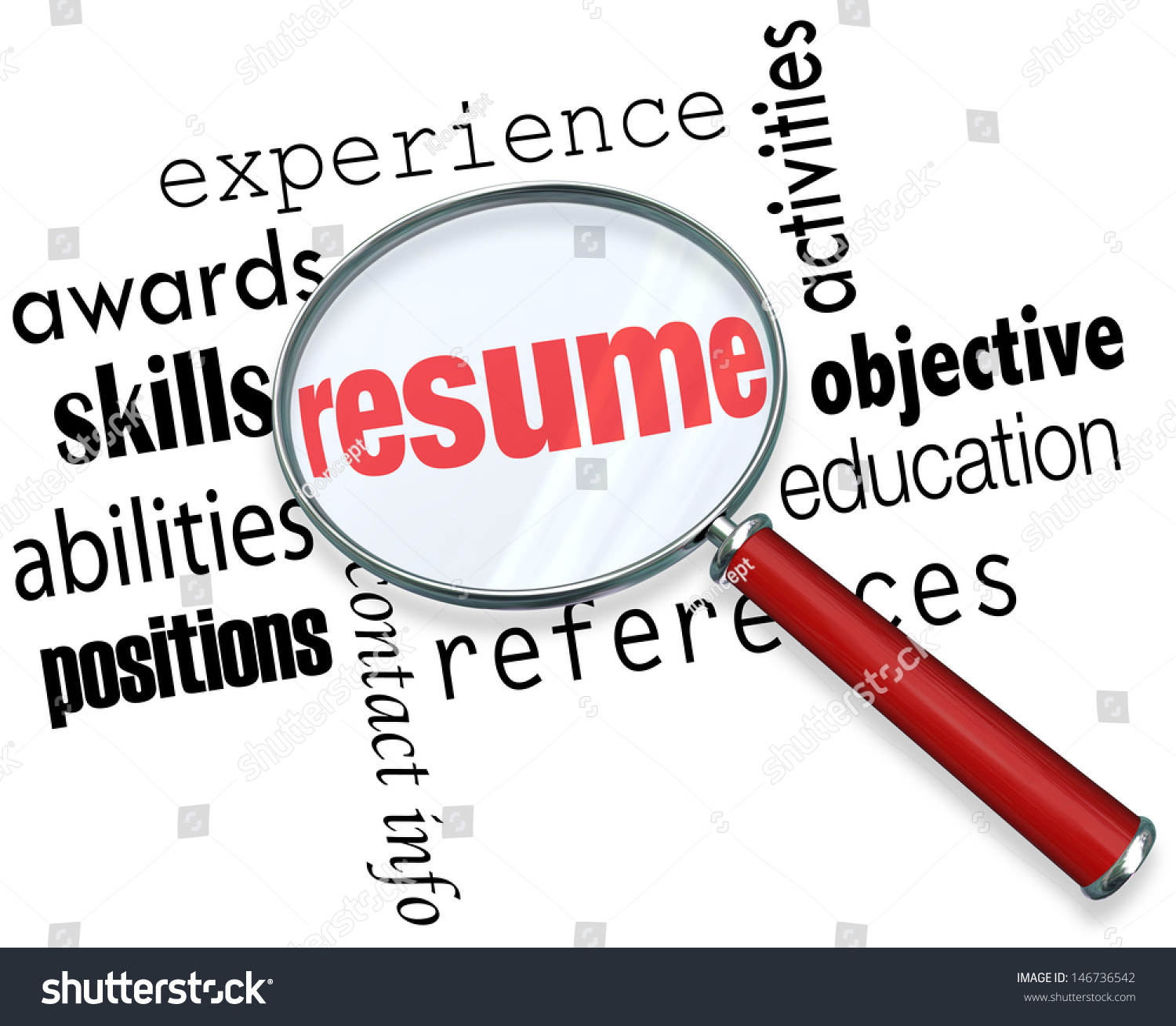 A magnifying glass over the word Resume surrounded by related terms such as  experience, awards