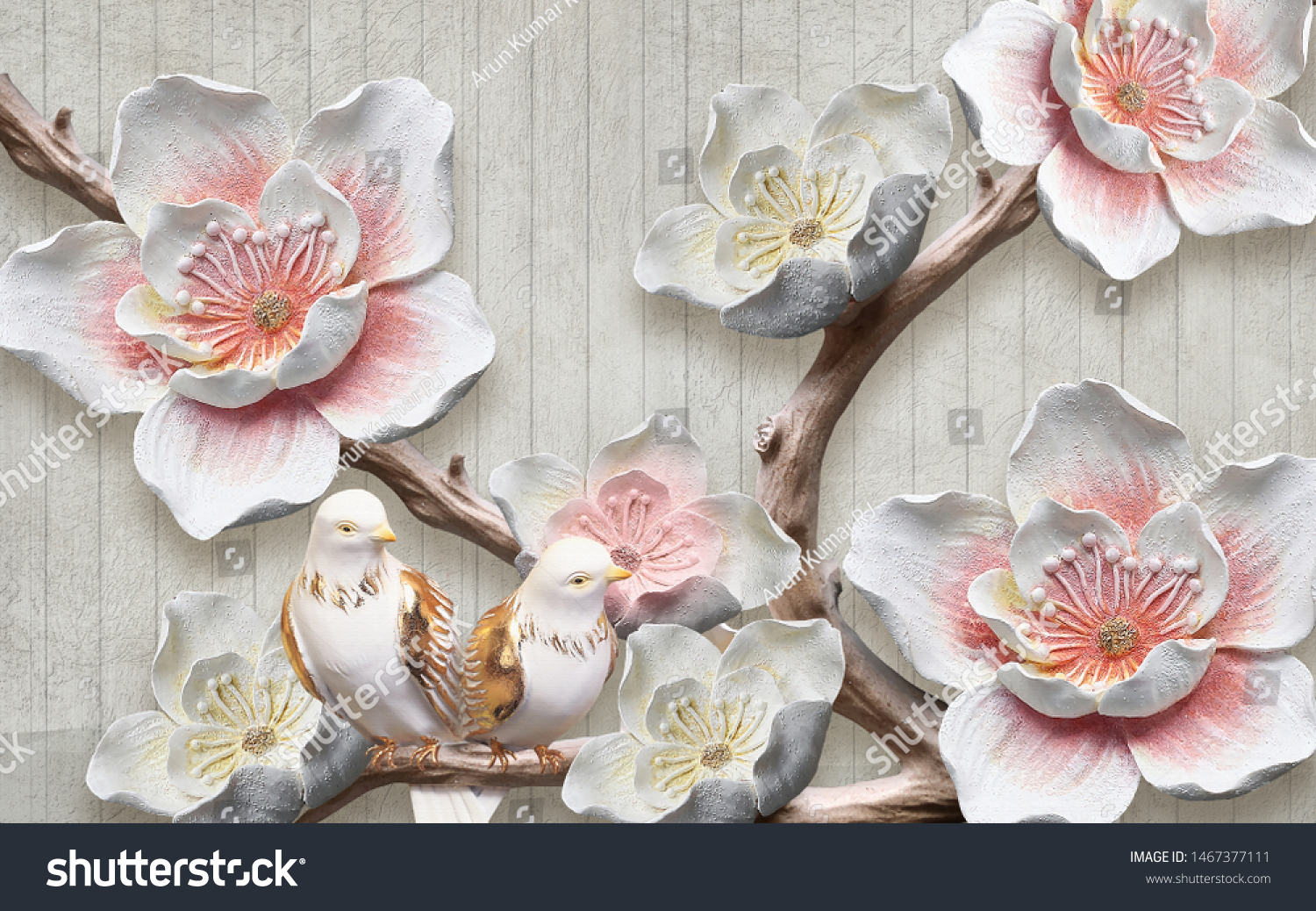 3d illustration,  white and pink flowers mural wallpaper