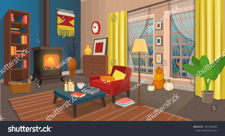 Cozy Autumn Living Room Fireplace Armchair Stock Vector