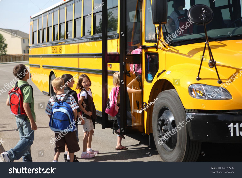 elementary school students get on school stock photo edit now