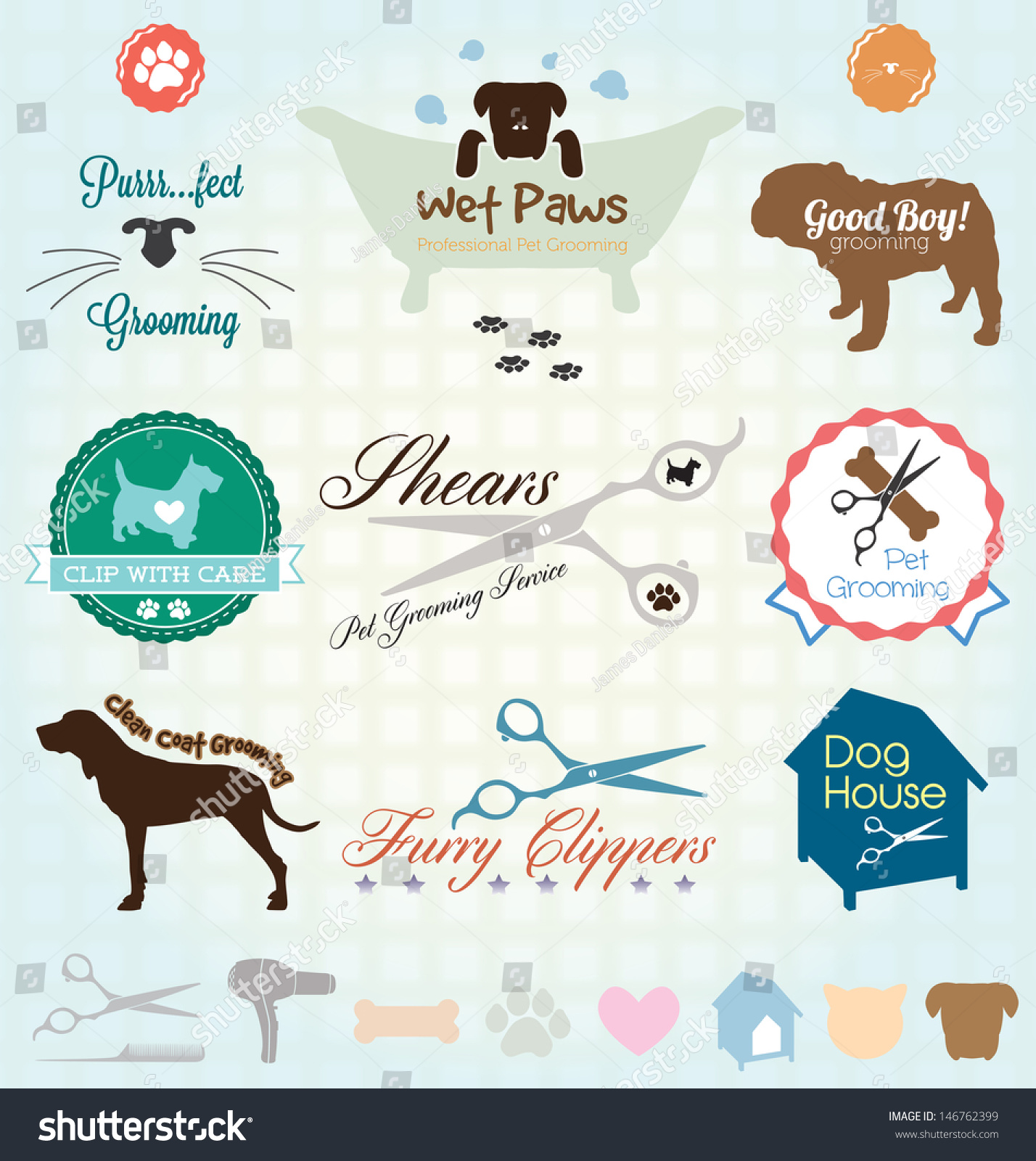 Vector Set Retro Pet Grooming Labels Stock Vector