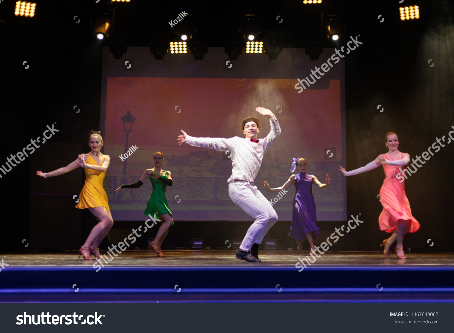 Dancer Actors perform on the theater stage in a dance show musical #1467649067