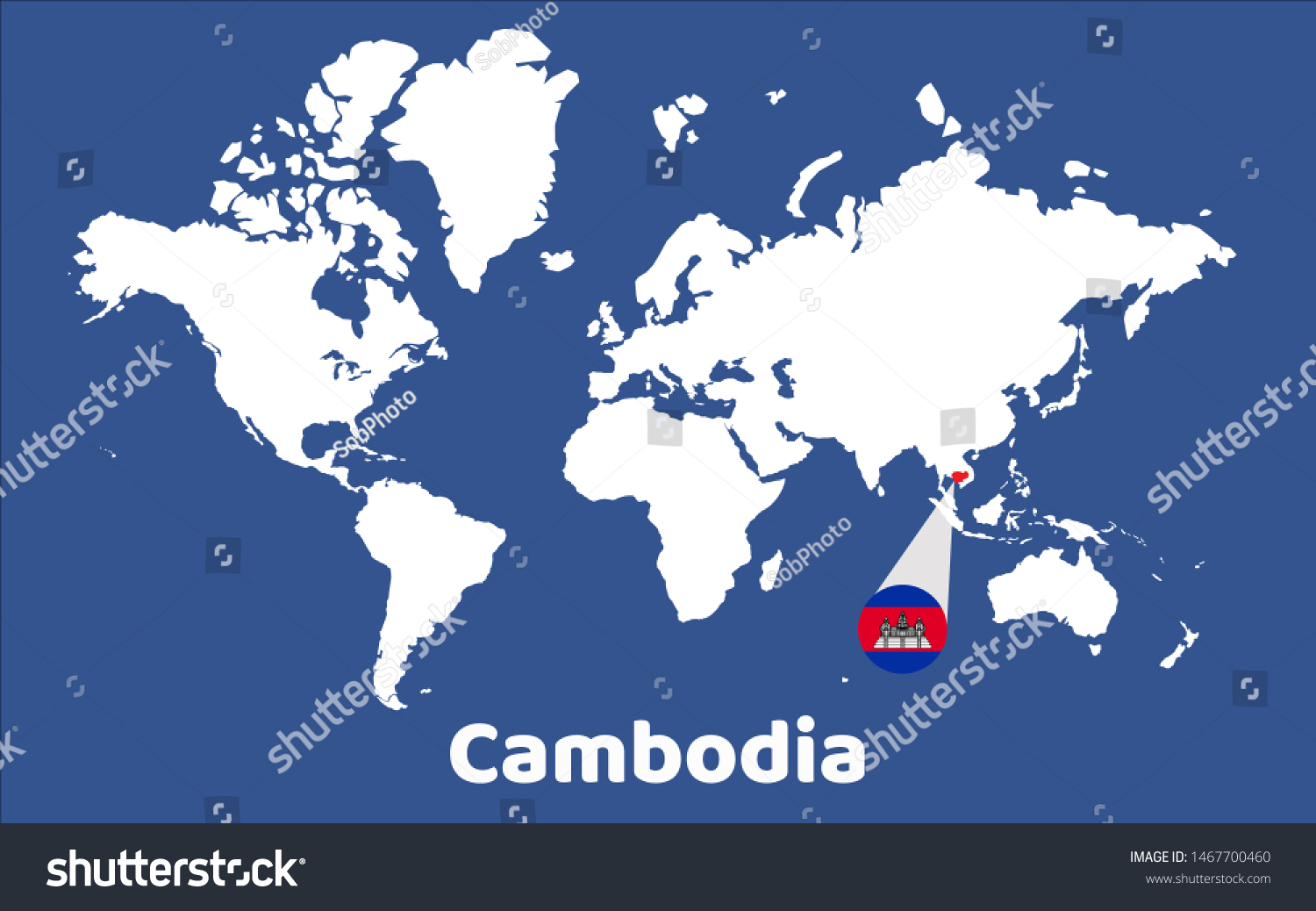 World Map Magnifying On Cambodia | Royalty-Free Stock Image