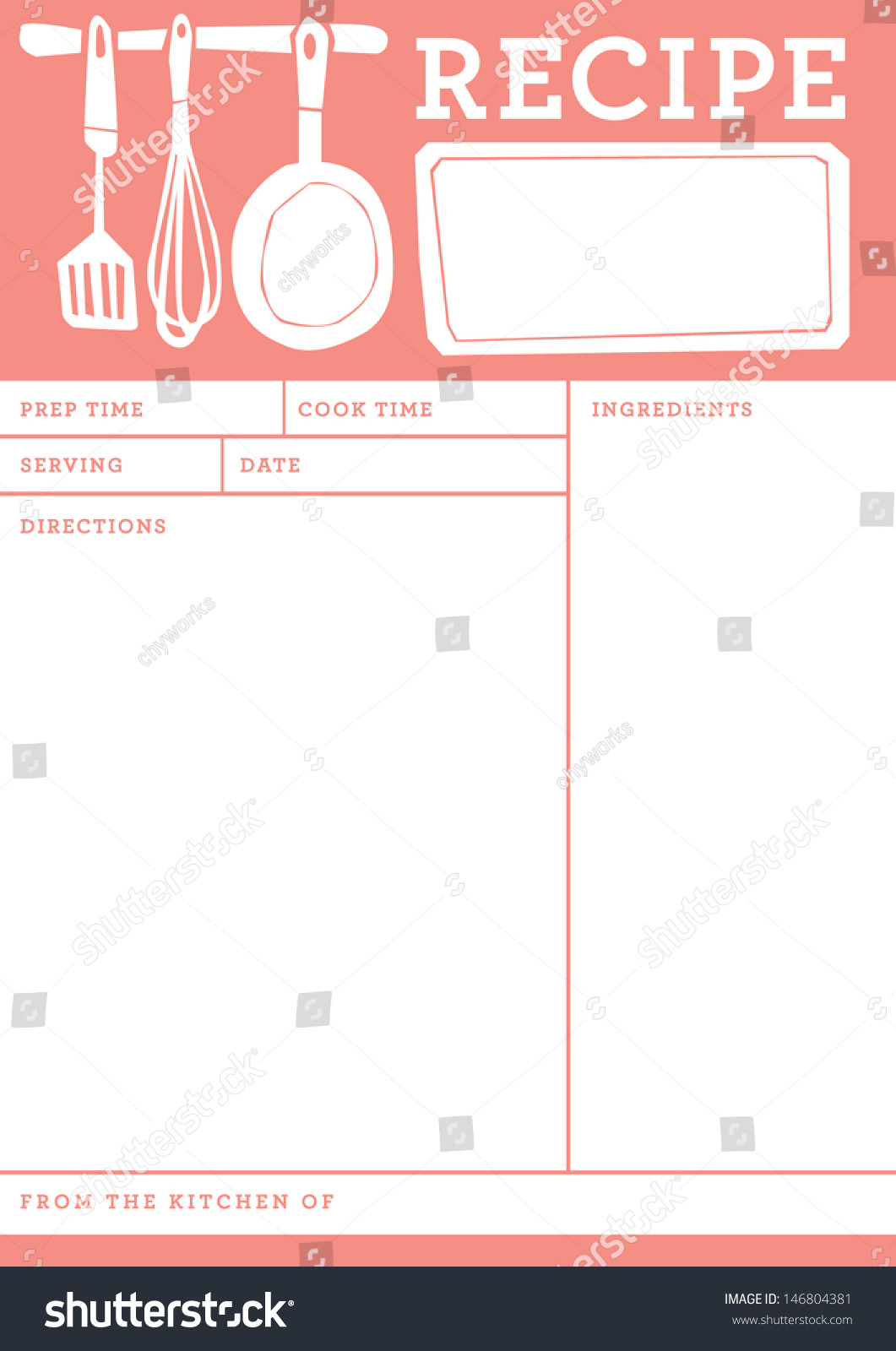 Recipe Card Kitchen Note Template Stock Vector 146804381 ...
