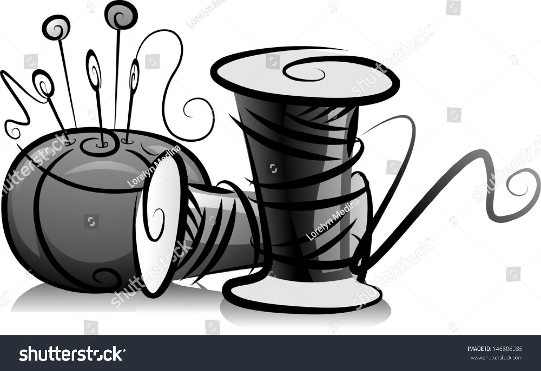 Illustration Spools Thread Pin Cushion Black Stock Vector (Royalty ...