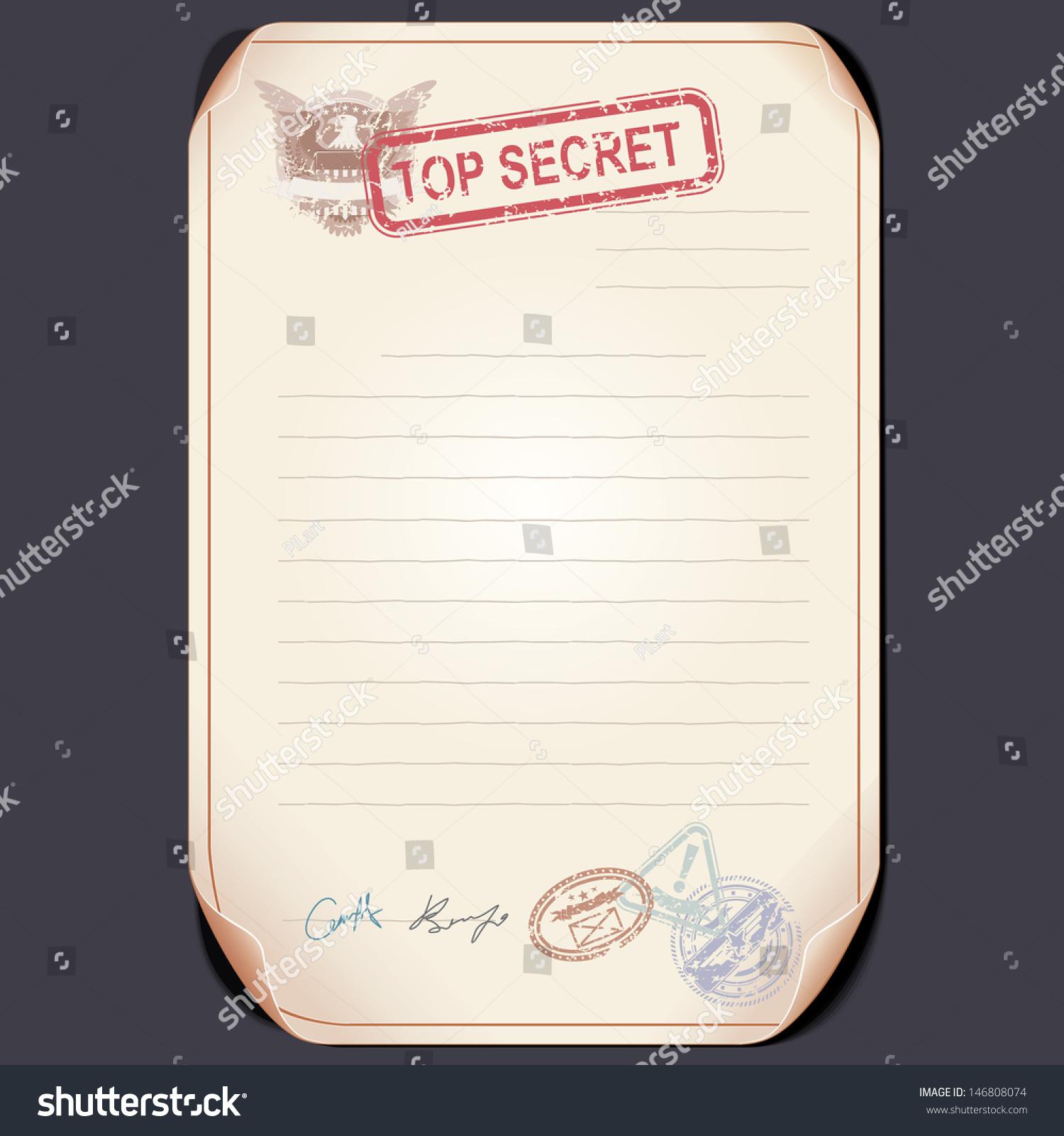 old top secret document on table stock illustration. Black Bedroom Furniture Sets. Home Design Ideas