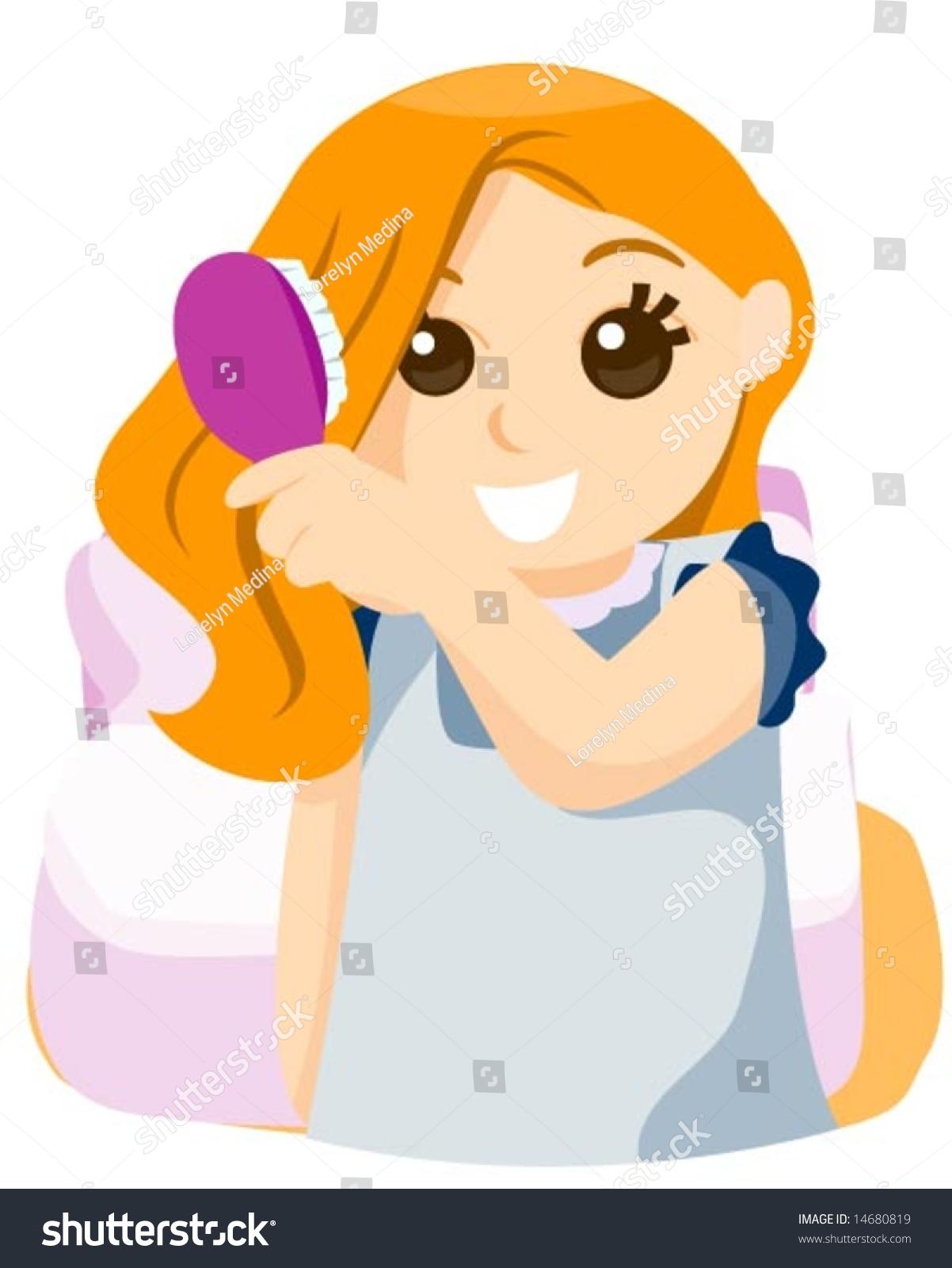 Brushing Hair - Vector - 14680819 : Shutterstock