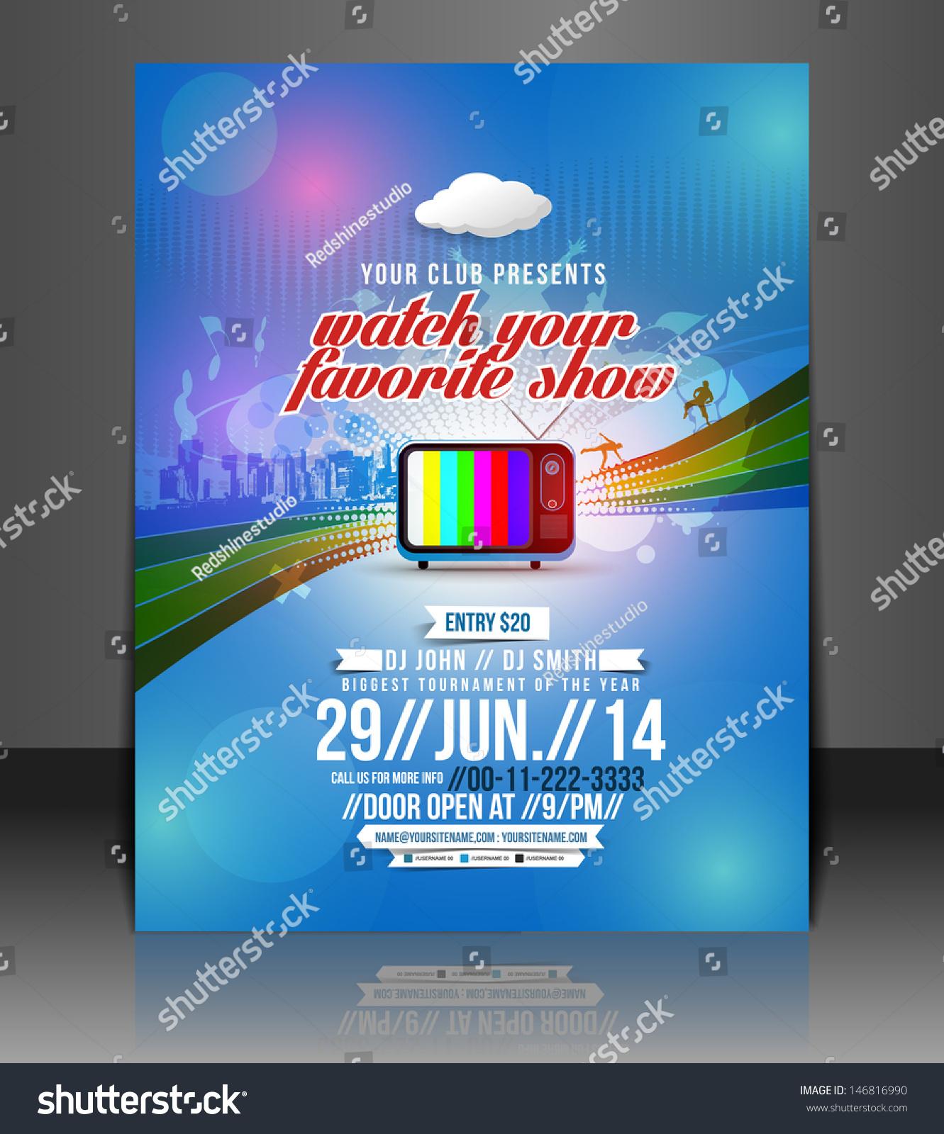 Vector Brochure Flyer Magazine: Vector Tv Show Party Brochure, Flyer, Magazine Cover