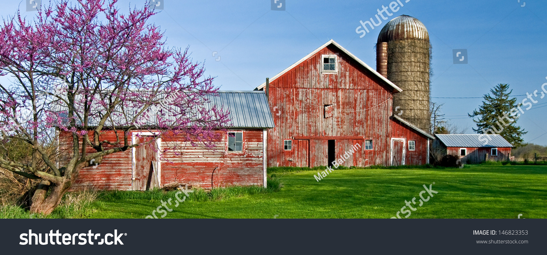 rural farm scene along il rt stock photo 146823353