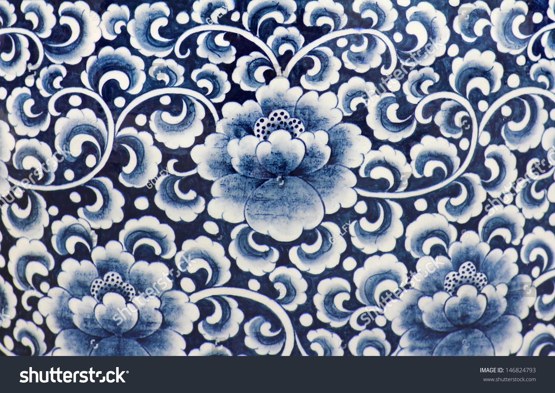 Blue white porcelain flower pattern stock photo edit now 146824793 blue and white porcelain of the flower pattern mightylinksfo