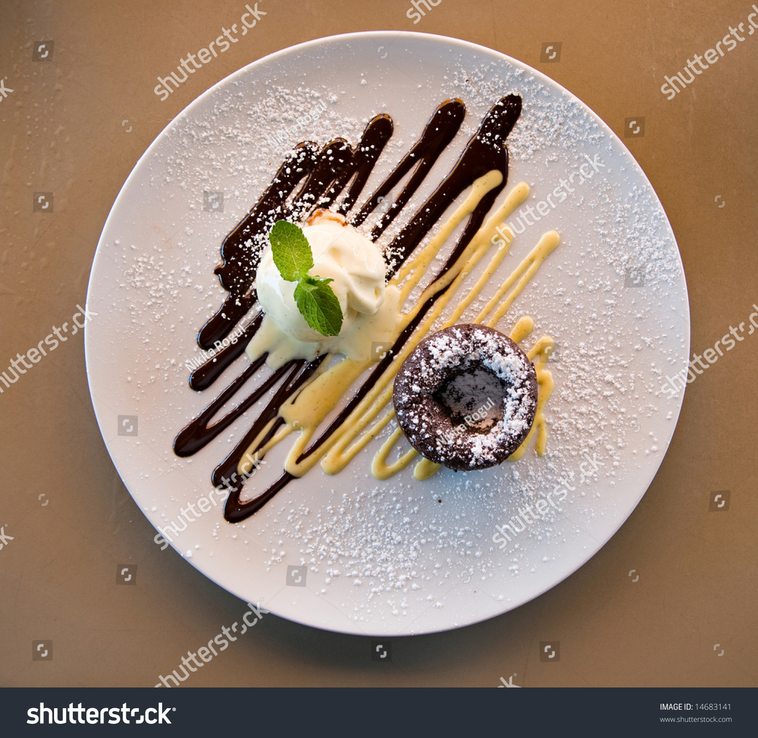 Chocolate cake on a decorated plate with vanilla ice cream & Chocolate Cake On Decorated Plate Vanilla Stock Photo (Royalty Free ...