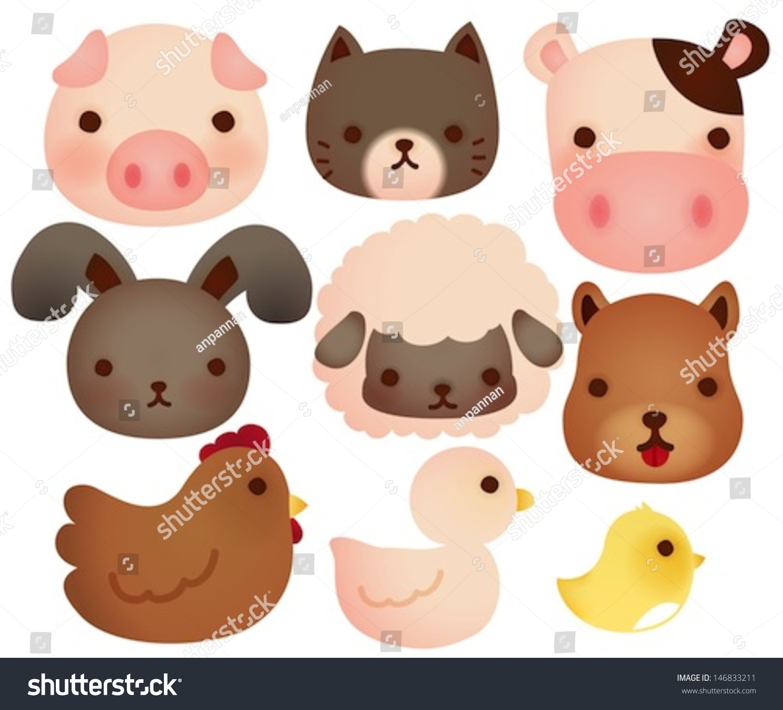 Collection Cute Farm Animals Vector File Stock Vector