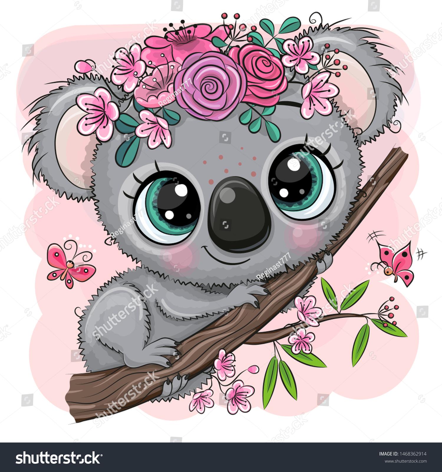 Cute Cartoon Koala mit Blumen auf rosafarbenem Hintergrund