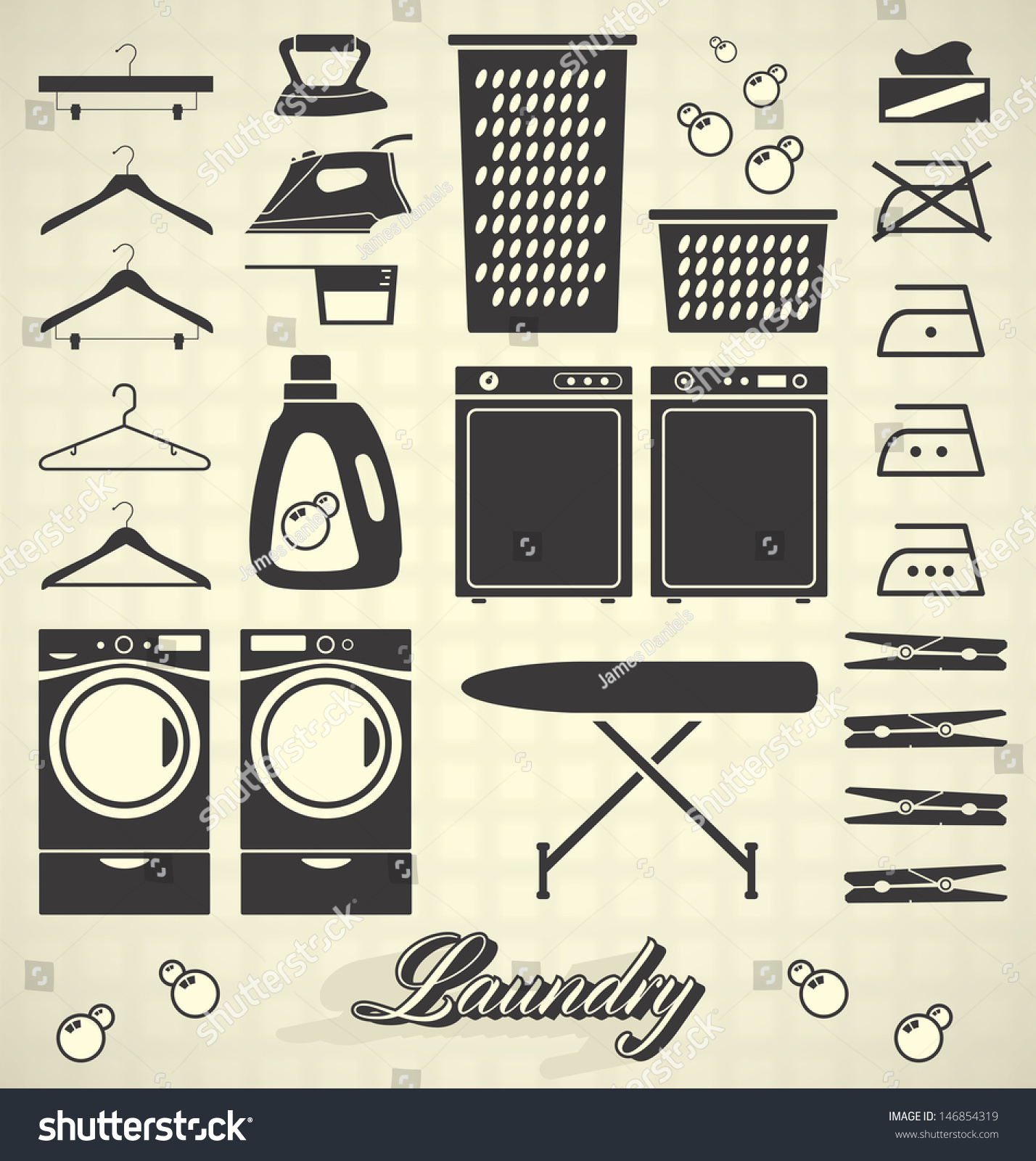 Vector Set Laundry Room Labels Icons Stock Vector 146854319 Shutterstock