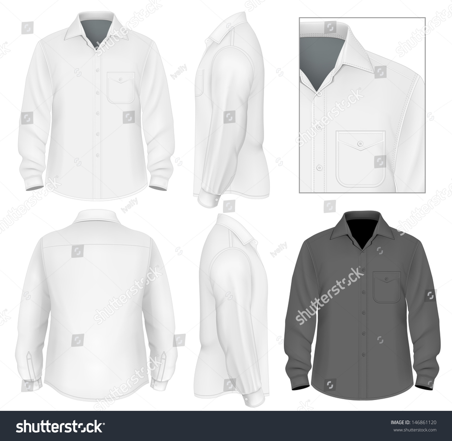 Photorealistic Vector Illustration Mens Button Down Stock Vector ...
