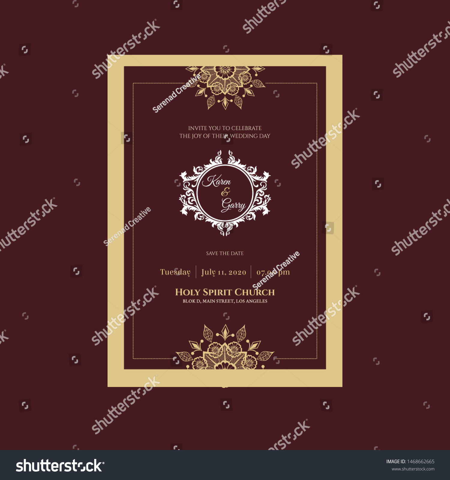 Classy Gold Wedding Invitation Red Background Stock Vector Royalty Free 1468662665
