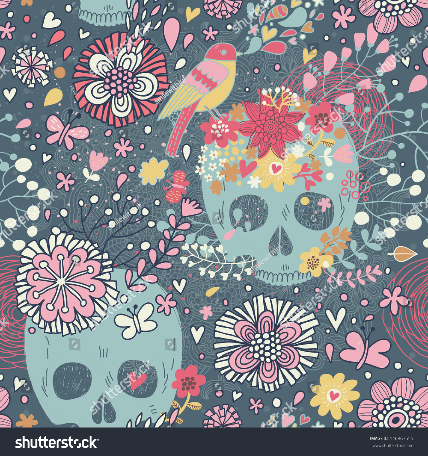 Mexican Concept Background Flowers Skulls Birds Stock