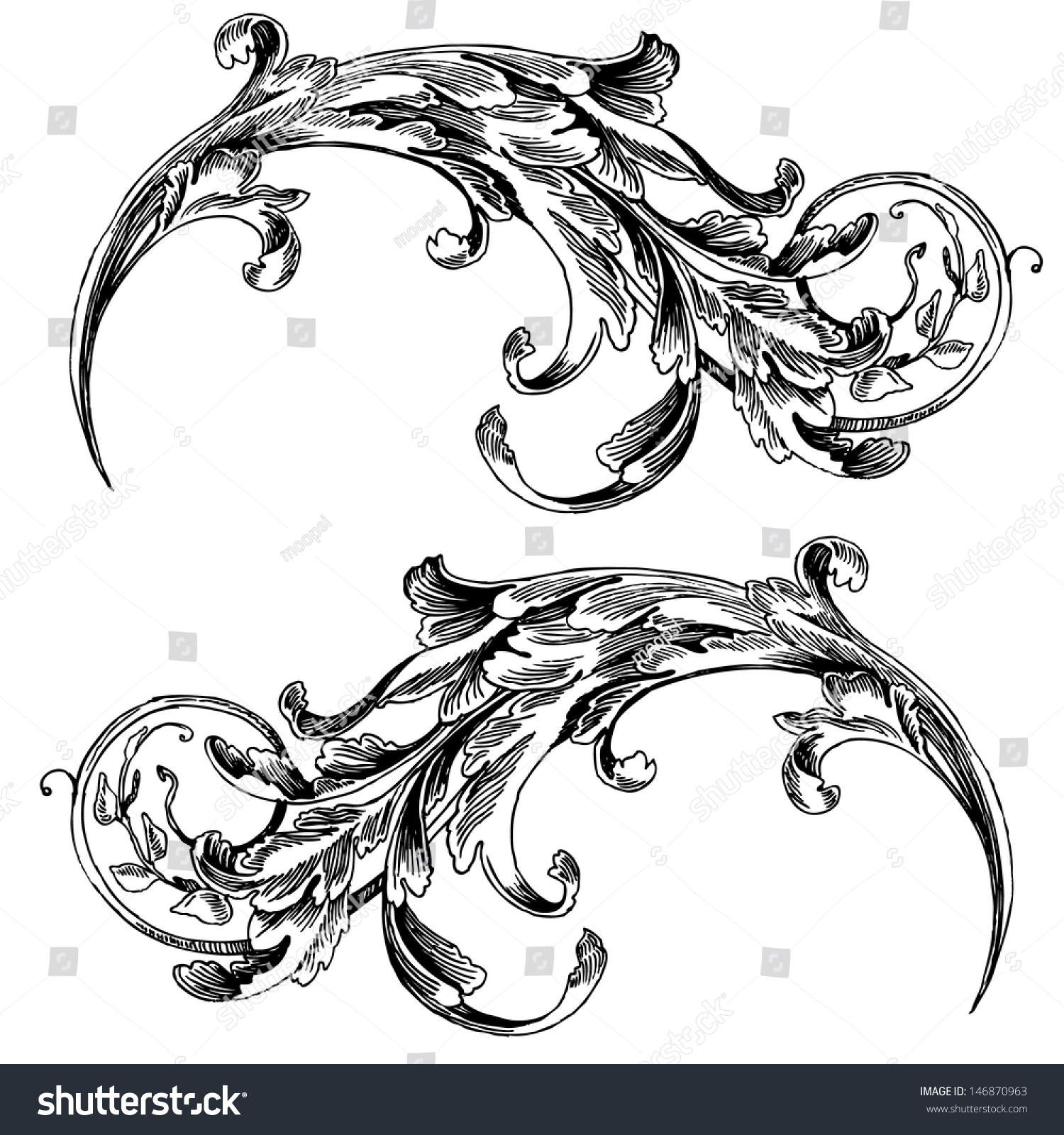 Antique Scroll Design: Vector Vintage Baroque Engraving Floral Scroll Stock