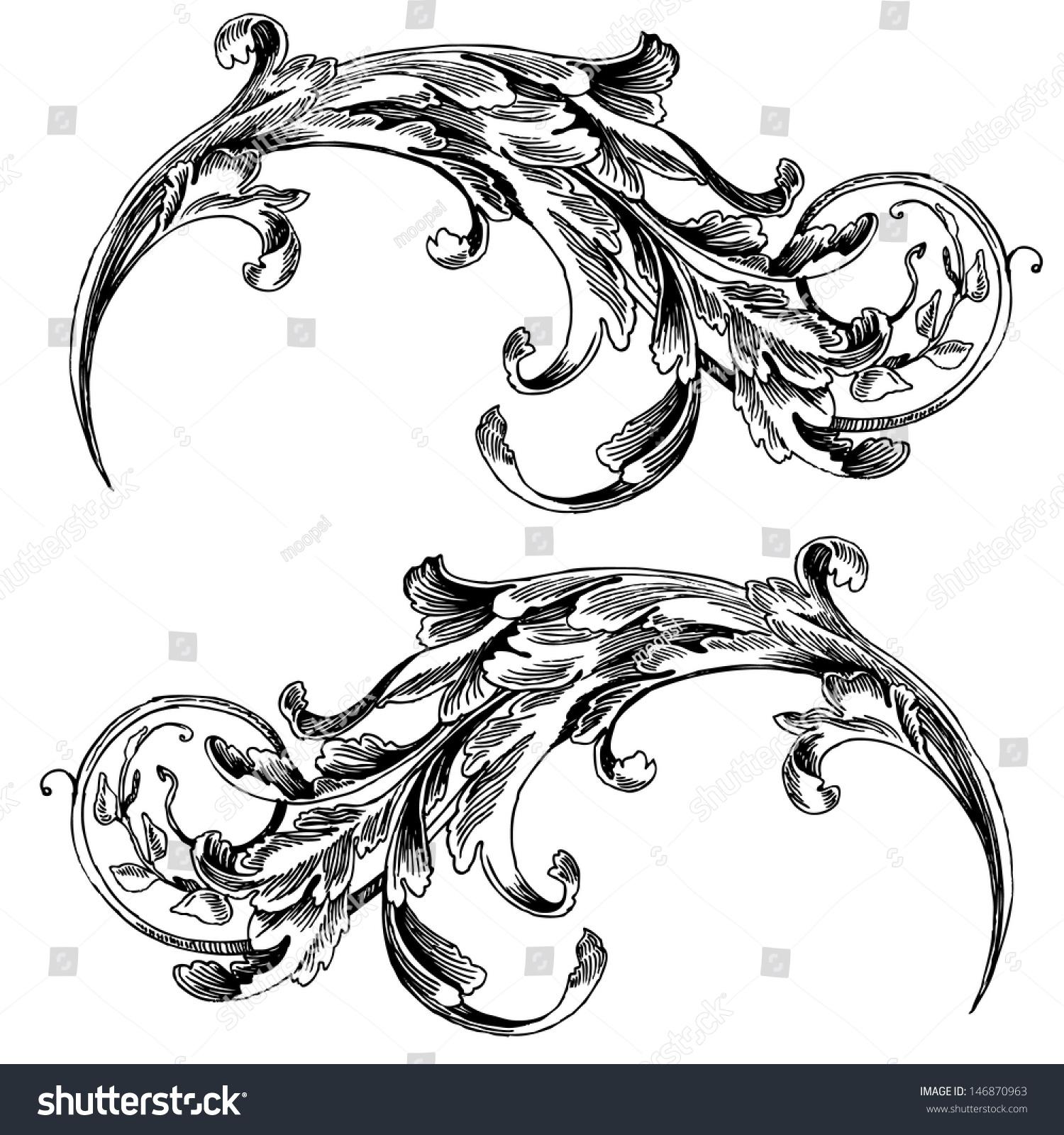 vector vintage baroque engraving floral scroll filigree design frame border acanthus pattern