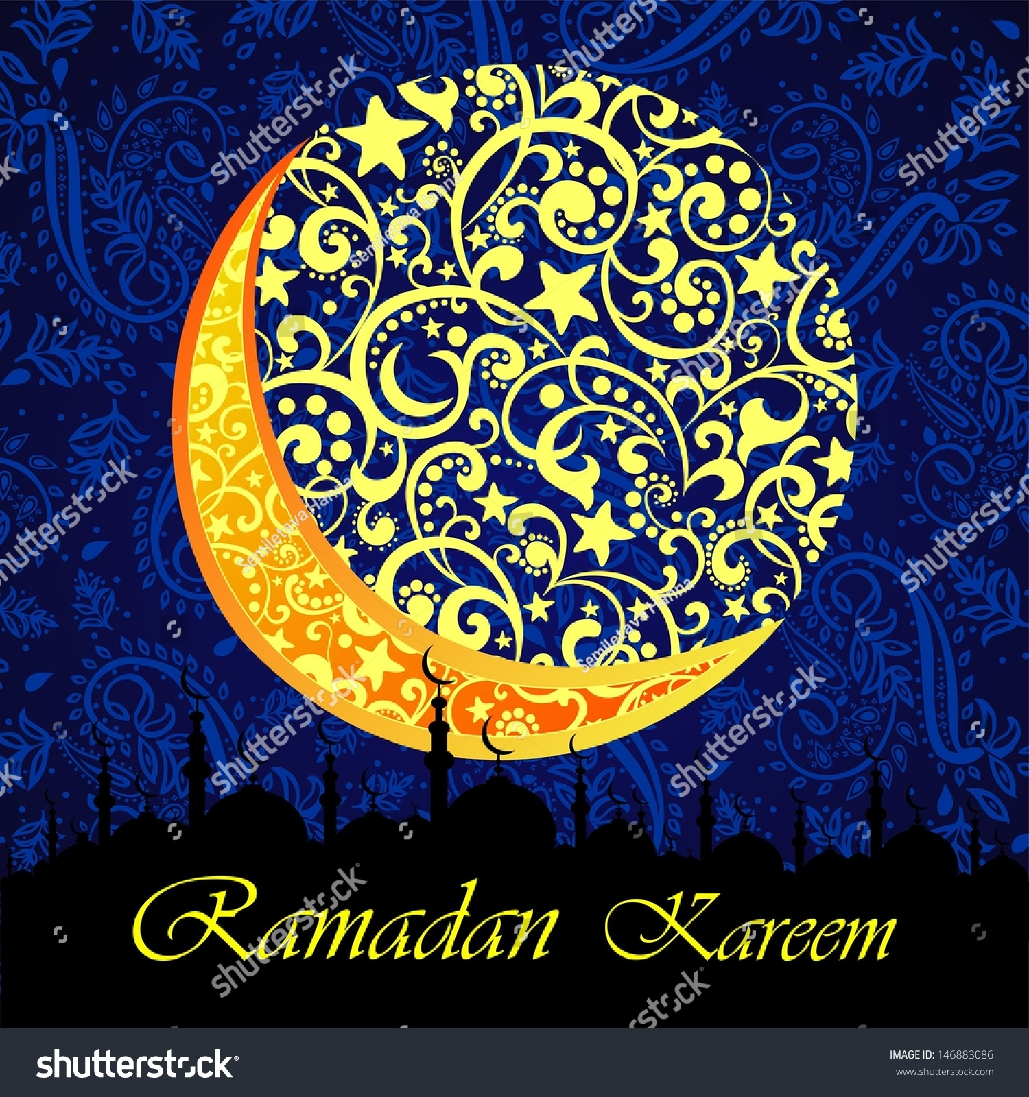 Ramadan Greetings Arabic Script Islamic Greeting Stock Illustration