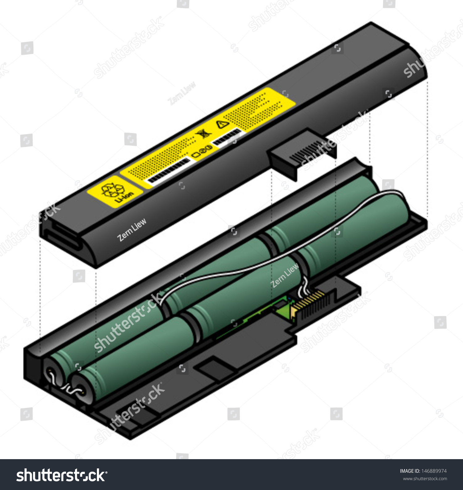 Diagram showing the inside components of a laptop battery.