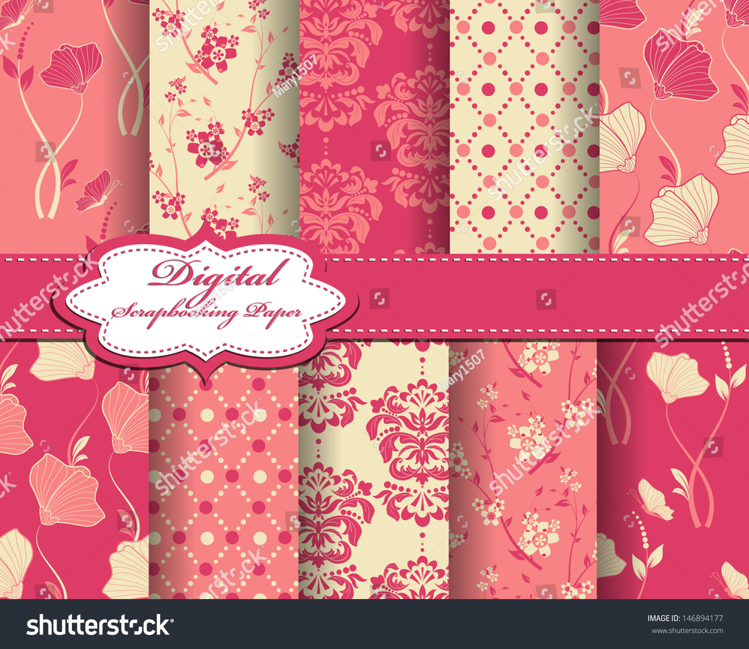 Set Vector Abstract Flower Pattern Paper Stock Vector Royalty Free