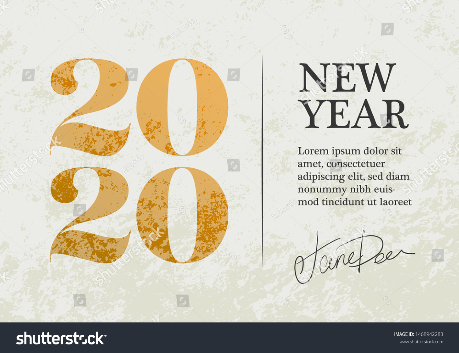 New Year 2020 Greeting Card Design Stock Vector (Royalty Free